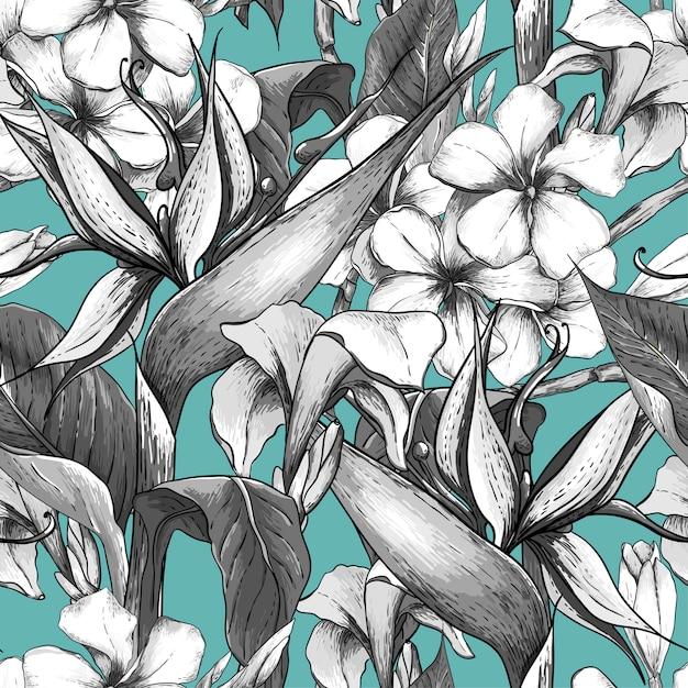 Zwart-wit naadloos patroon met exotische bloemen Premium Vector