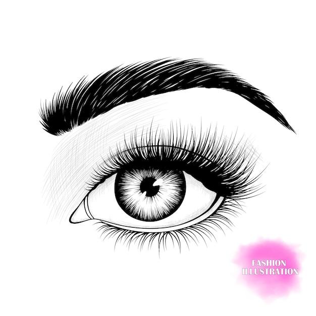 Zwart-wit oog Premium Vector