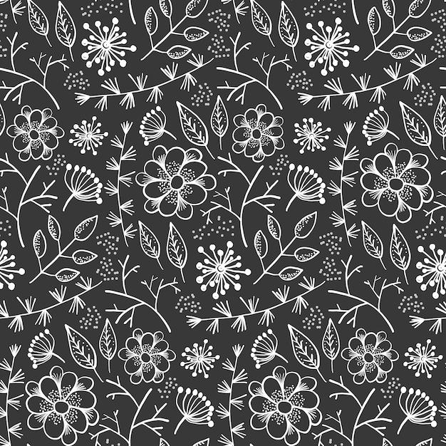 Zwart-wit patroon met overzichtsbloemen en kruiden Premium Vector