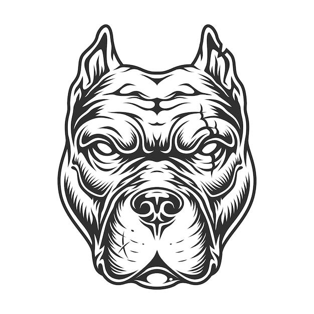 Zwart-wit pitbull hoofd Gratis Vector