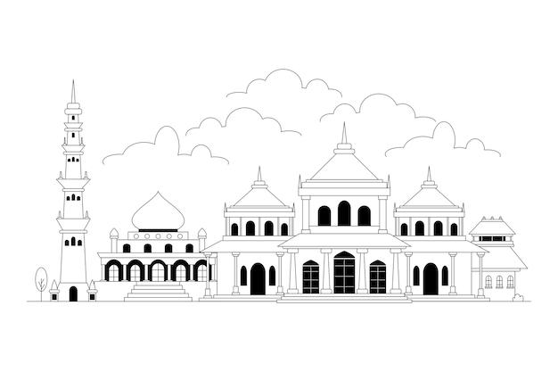 Zwart-wit skyline van ahmedabad Gratis Vector
