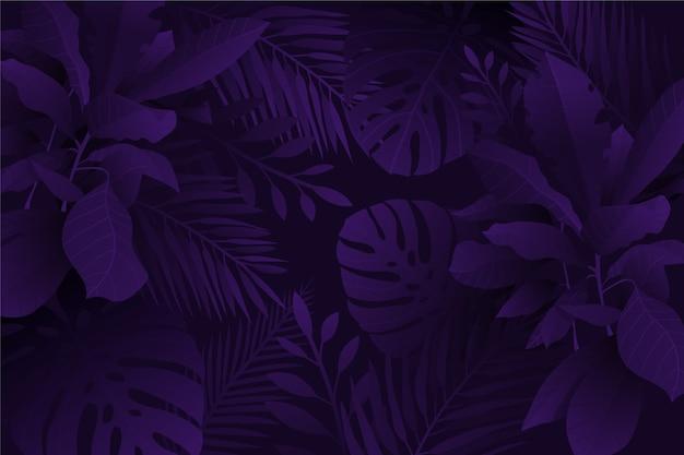 Zwart-wit violette realistische donkere tropische bladerenachtergrond Gratis Vector