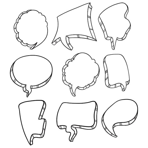 Zwart-wit zeepbel spraakverzameling met doodle of hand getrokken stijl Premium Vector