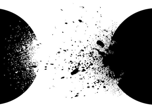Zwart-witte explosieachtergrond Gratis Vector