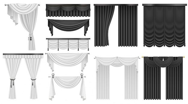 Zwart-witte fluwelen zijden gordijnen en gordijnen ingesteld. interieur realistisch luxe gordijnen decoratie ontwerp. Premium Vector