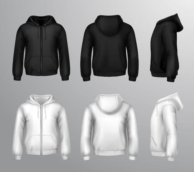 Zwart-witte mannelijke sweatshirts met capuchon Gratis Vector
