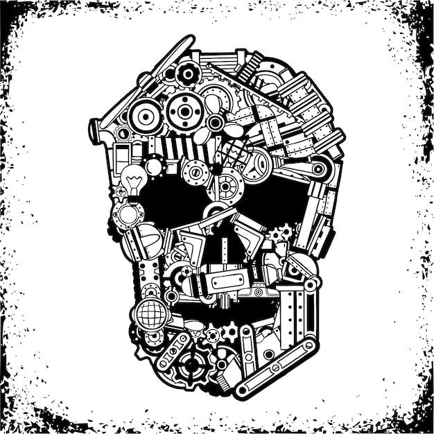 Zwart-witte schedel van verschillende mechanische reserveonderdelen, schroot in een grungeframe. Premium Vector