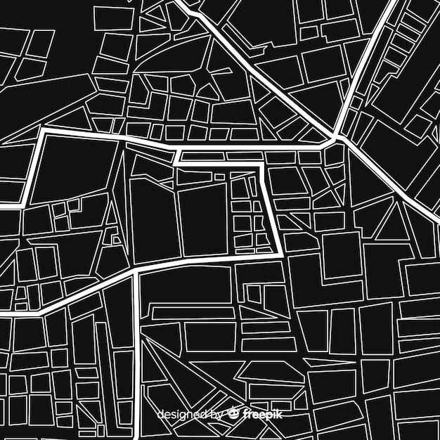 Zwart-witte stadskaart Gratis Vector