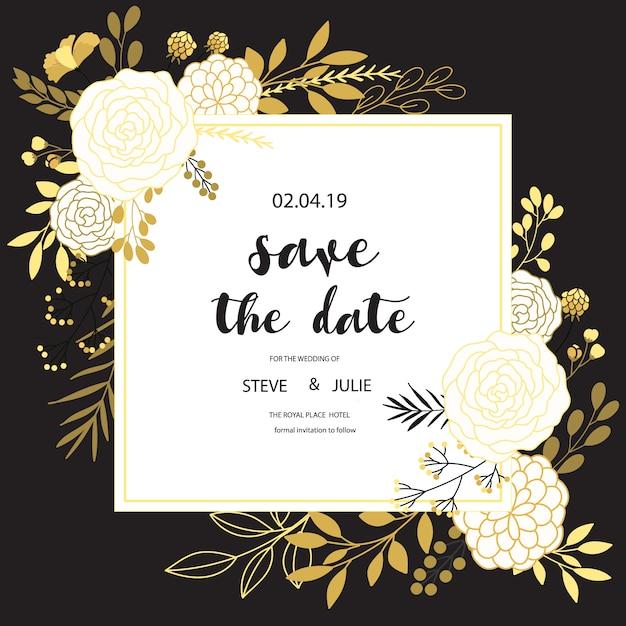 Zwart-witte trouwkaart met bloemenontwerp Gratis Vector