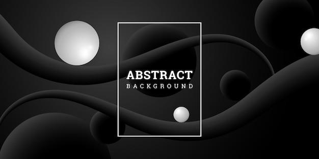Zwarte abstracte achtergrond met bollen in realistische stijl Premium Vector