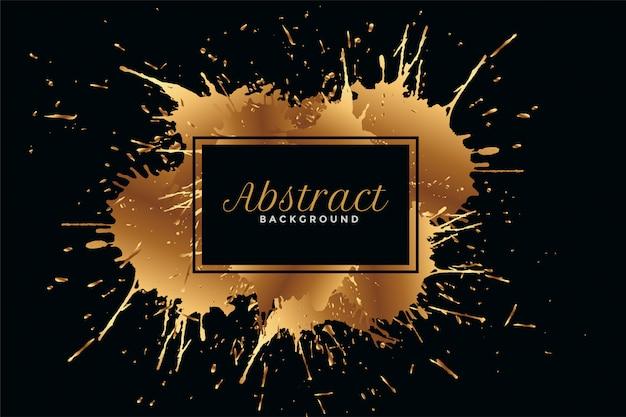 Zwarte achtergrond met gouden inkt ploetert ontwerp Gratis Vector