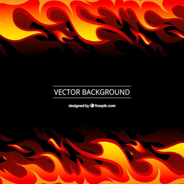 Zwarte achtergrond met oranje en gele vlammen Gratis Vector