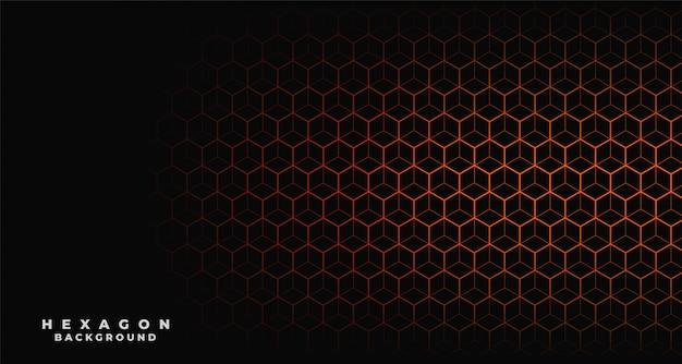 Zwarte achtergrond met oranje zeshoekig patroon Gratis Vector
