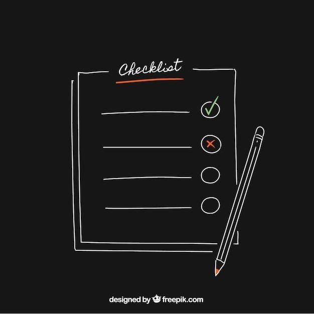 Zwarte achtergrond met potlood en checklist Gratis Vector