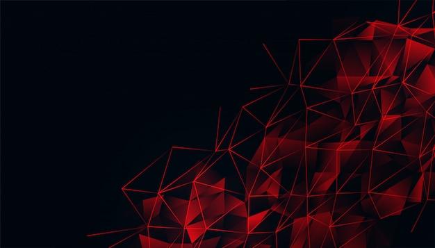 Zwarte achtergrond met rood gloeiend laag polynetwerk Gratis Vector