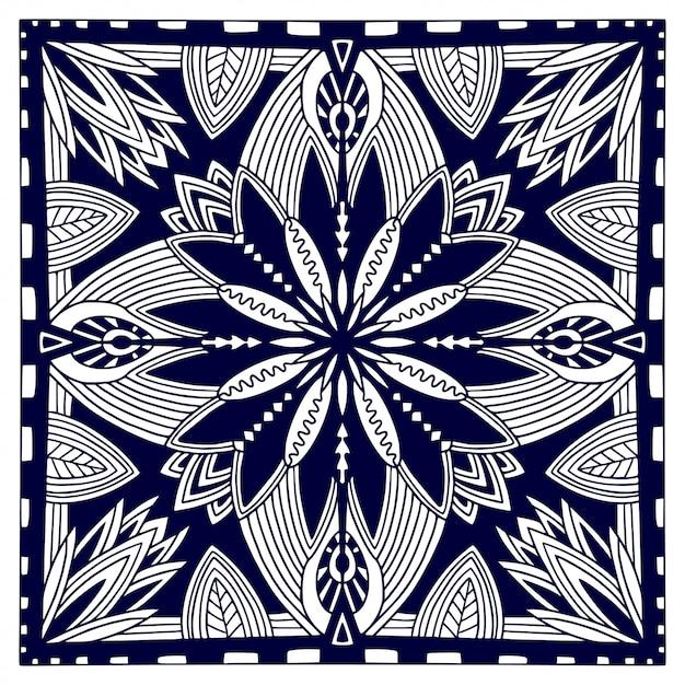Zwarte bandana-print. oosters bloemensjaalpatroon. vector zwart-witte achtergrond. sjabloon voor textiel. sier vierkant patroon met geometrisch ornament. Premium Vector