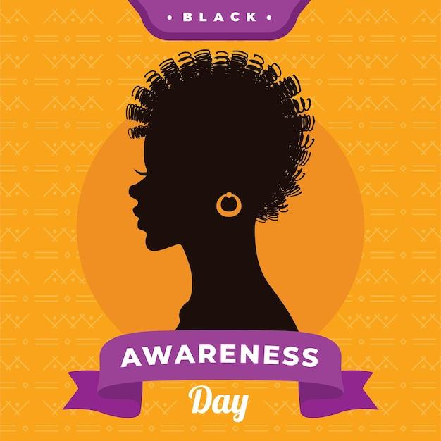 Zwarte bewustzijnsdag platte ontwerp achtergrond Gratis Vector
