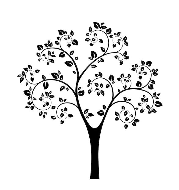 Zwarte boom silhouet geïsoleerd Gratis Vector