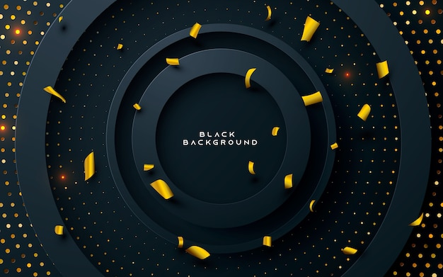 Zwarte cirkel laag achtergrond met gouden glitters Premium Vector