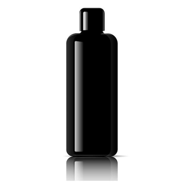 Zwarte cosmetische fles. gezichtstoner, haarshampoo Premium Vector