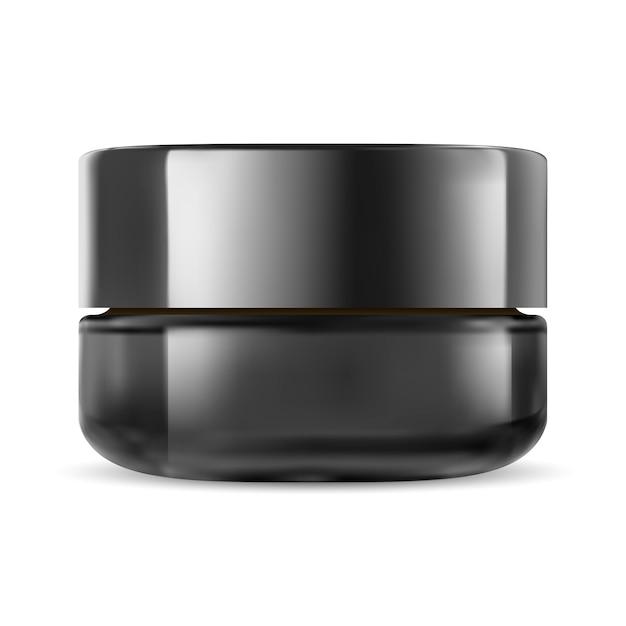 Zwarte cosmetische pot. glass cream packaging mockup Premium Vector
