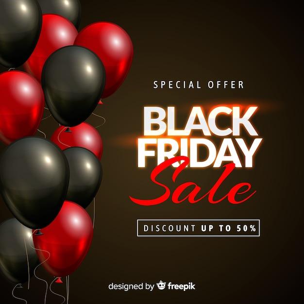 Zwarte de verkoopachtergrond van de vrijdagballon in zwart en rood Gratis Vector
