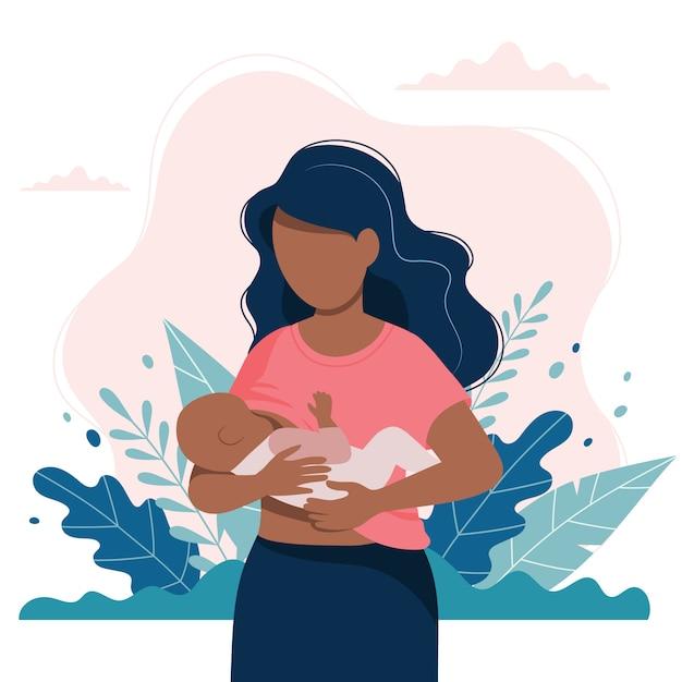 Zwarte die een baby met aard en bladeren de borst geeft. Premium Vector