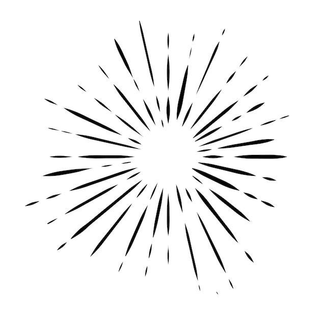 Zwarte doodle zonnestraal Gratis Vector