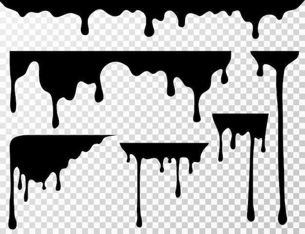 Zwarte druipende olievlek, vloeibare druppels of verf huidige inkt silhouetten geïsoleerd Premium Vector