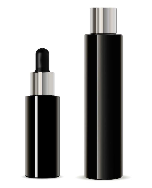 Zwarte druppelfles. cosmetische serumlotion Premium Vector