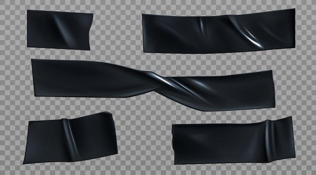 Zwarte ducttape stukken, isolerende strepen set Gratis Vector