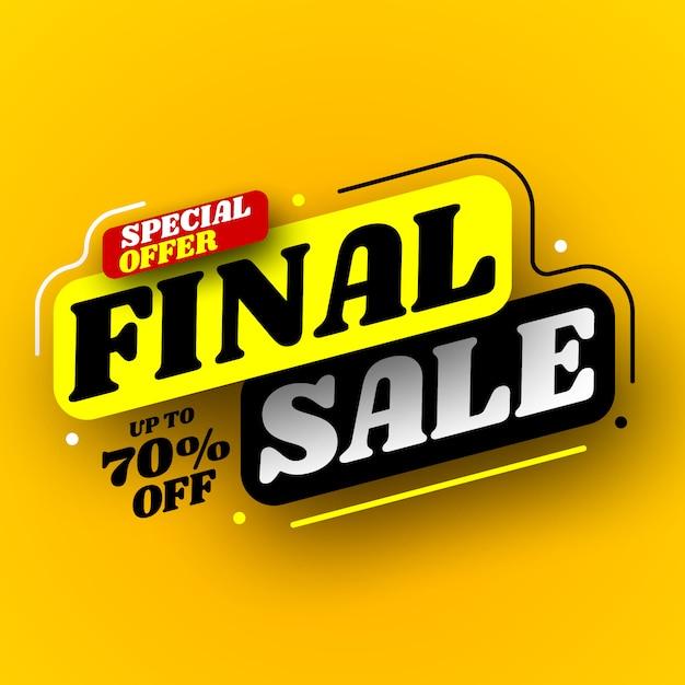 Zwarte en gele definitieve verkoopbanner, speciale aanbieding. illustratie. Premium Vector