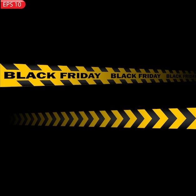 Zwarte en gele geïsoleerde voorzichtigheidslijnen. realistische waarschuwingstapes. zwarte vrijdag verkoop Premium Vector