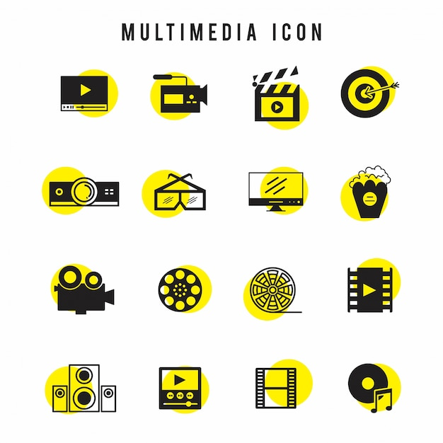 Zwarte en gele multimedia icon set Gratis Vector