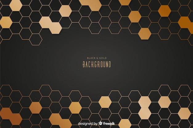 Zwarte en gouden achtergrond Premium Vector