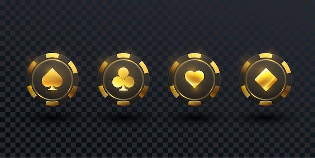 Zwarte en gouden casinofiches die op zwarte achtergrond worden geïsoleerd. Premium Vector