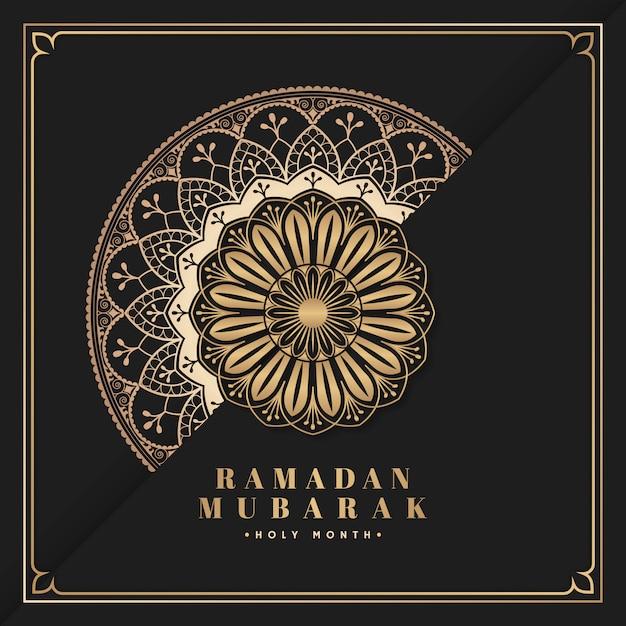 Zwarte en gouden eid mubarak-prentbriefkaarvector Gratis Vector
