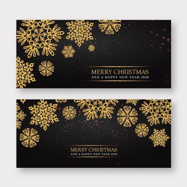 Zwarte en gouden merry christmas banner achtergrond Premium Vector
