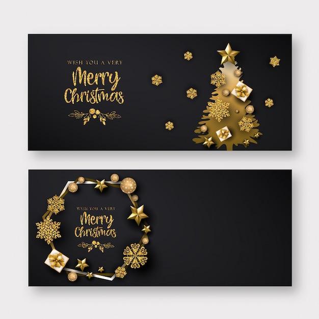 Zwarte en gouden merry christmas banner Premium Vector