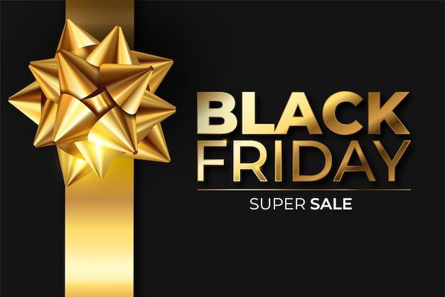 Zwarte en gouden realistische black friday-banner Gratis Vector