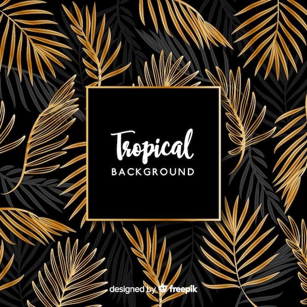 Zwarte en gouden tropische bladerenachtergrond Gratis Vector