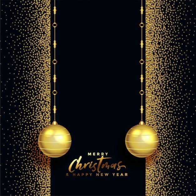 Zwarte en gouden vrolijke kerstmis mooie groet Gratis Vector
