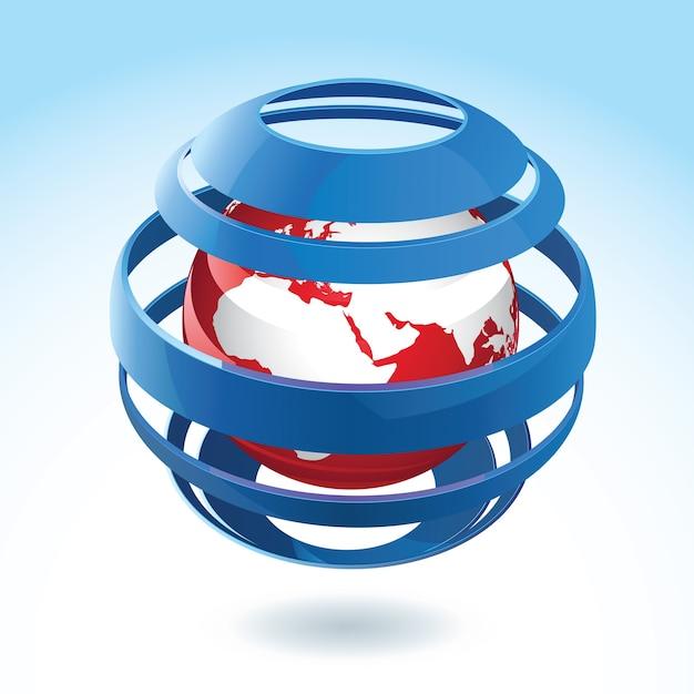 Zwarte en rode aardebol met blauw rond lint Gratis Vector