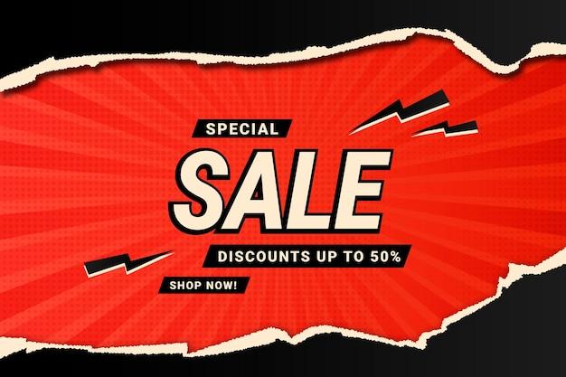 Zwarte en rode realistische verkoopachtergrond met gescheurd papier Premium Vector
