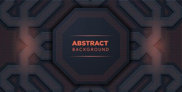 Zwarte en rode samenvatting. geometrische vormen, achthoek. abstract licht halftoon. Premium Vector