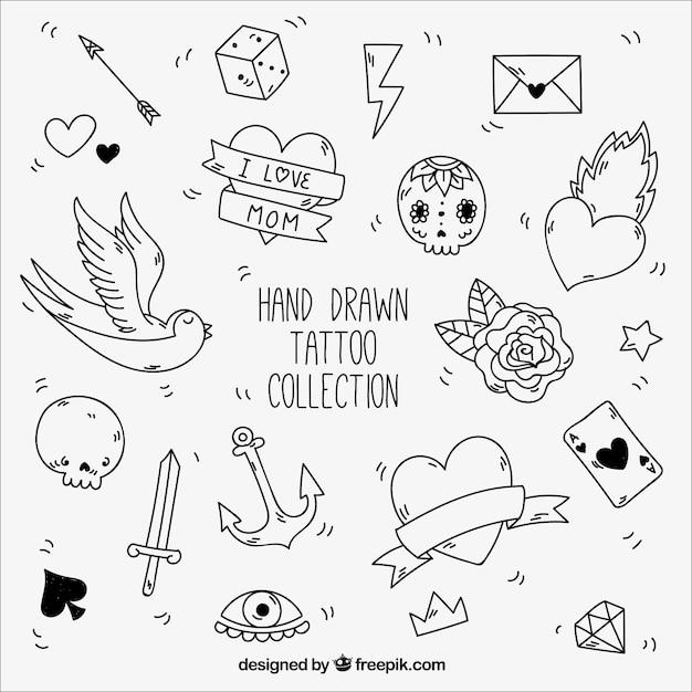 Zwarte en witte elementen voor vintage tatoeages Gratis Vector