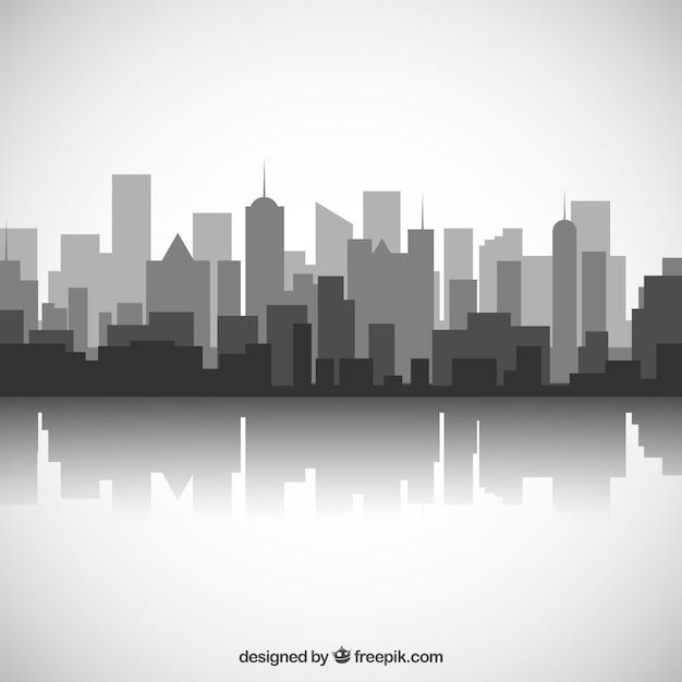 Zwarte en witte skyline van de stad Gratis Vector