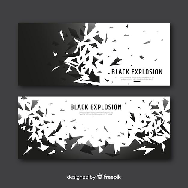 Zwarte explosiebanner Gratis Vector