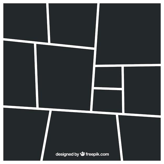 Zwarte fotolijst collagesjabloon Premium Vector