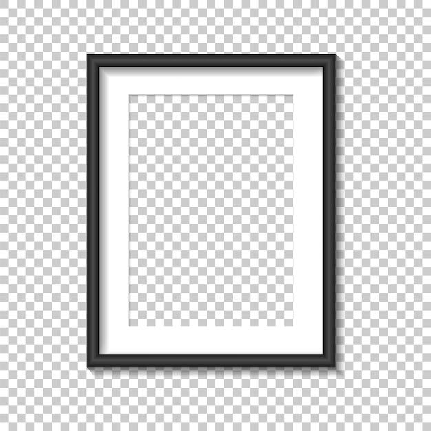 Zwarte fotolijst sjabloon. illustratie. Premium Vector